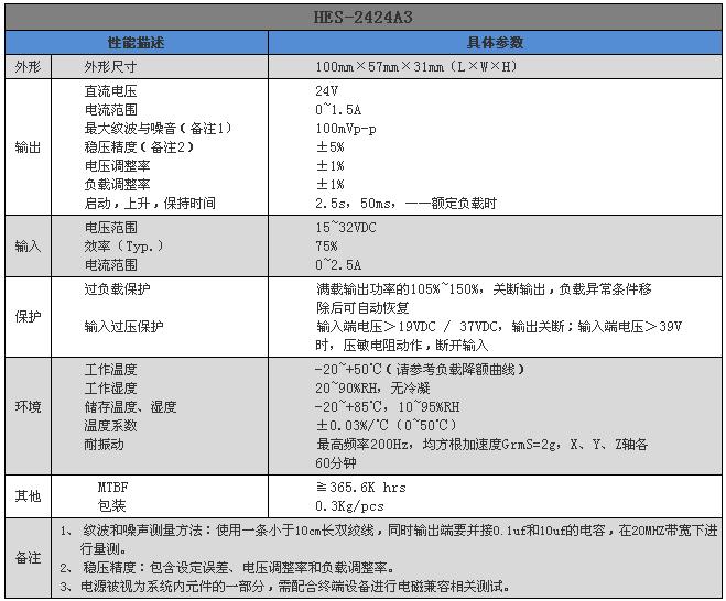 开关电源  hes-2424a3产品参数
